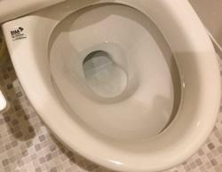 便器が破損し、床に水漏れ