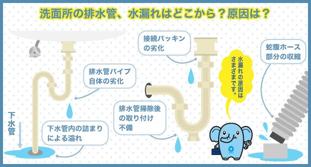 洗面所の排水管、水漏れはどこから?原因は?