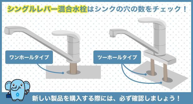 シングルレバー混合水栓はシンクの穴の数をチェック!